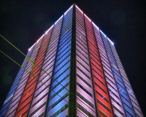 Mosaic Tower Lights Up the Night